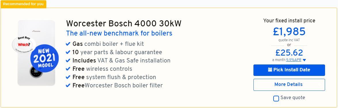 Worcester Bosch 30kW price